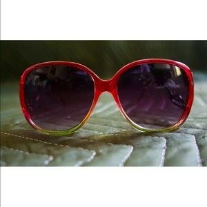 H&M Pink & Green Ombre Oversized Oval Sunglasses